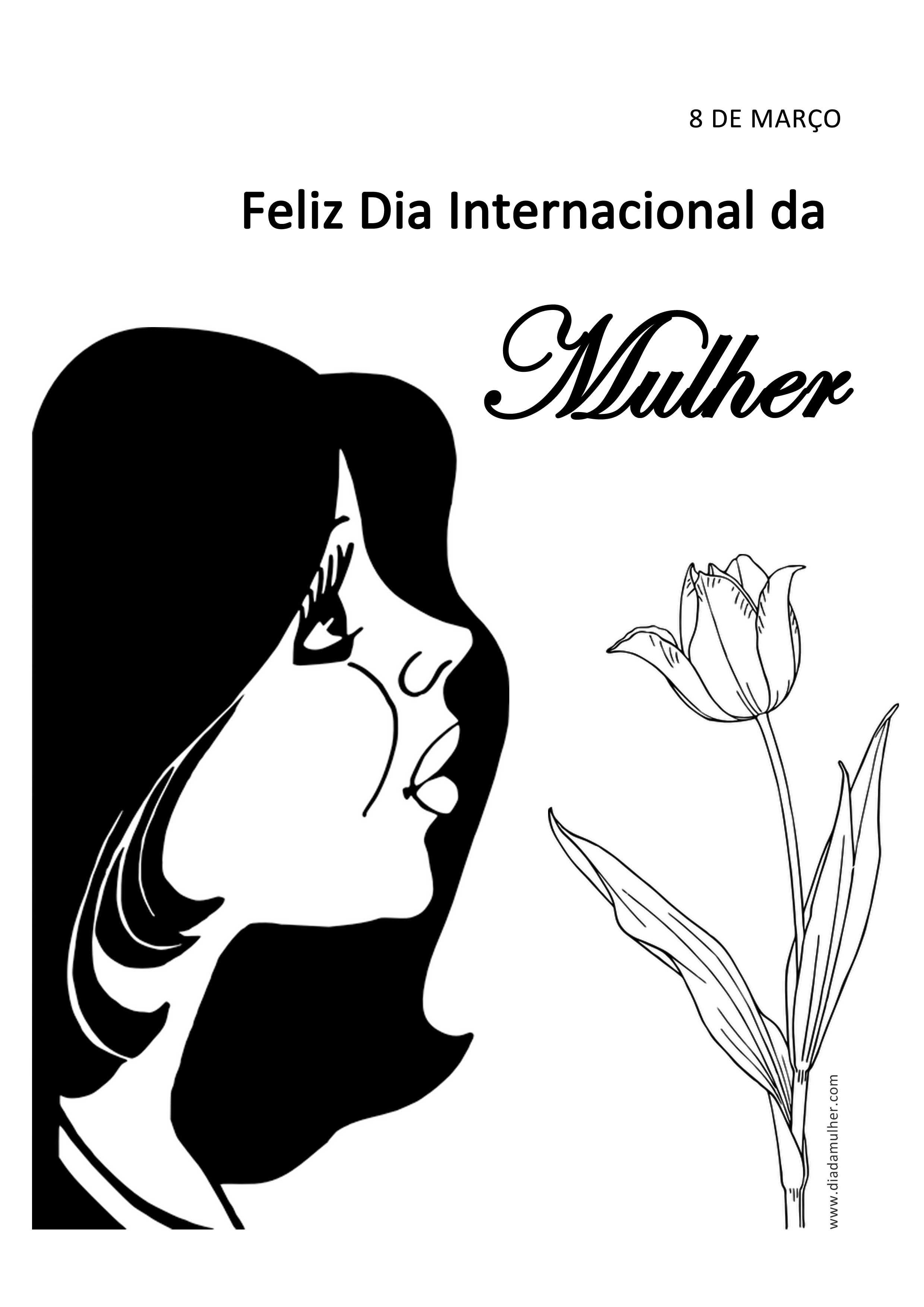 Atividades escolares Dia Internacional da Mulher - desenho para pintar dia da mulher