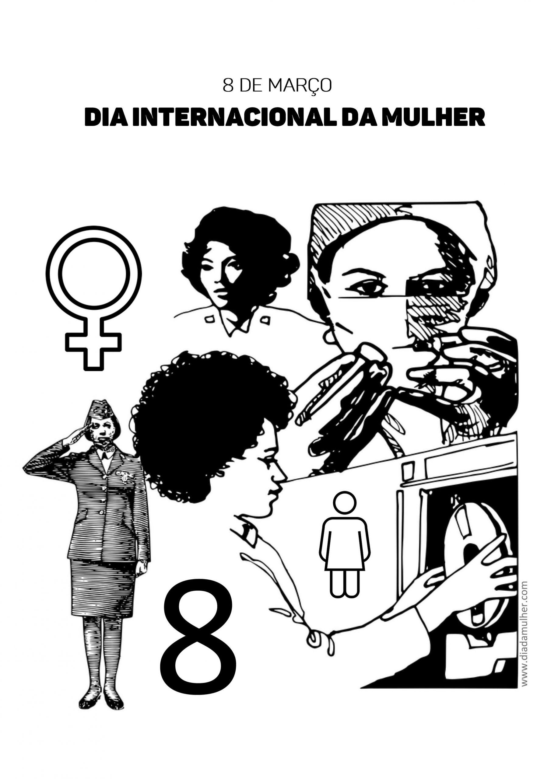 Atividade escolar Dia Internacional da Mulher - desenho para colorir Dia da Mulher