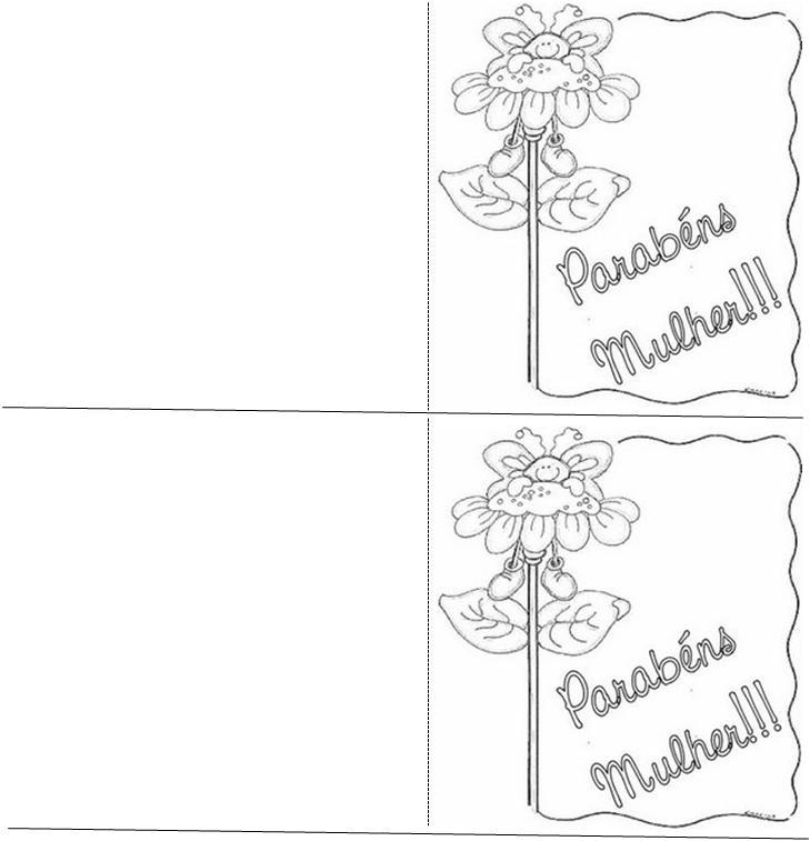 Cartão Dia da Mulher para colorir e imprimir