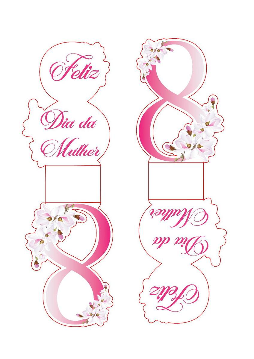Moldes Lembrancinha Dia da Mulher número 8 - 8 de março - com bombom